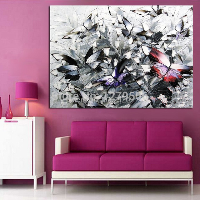 Handmade Modern Abstract Decorative Butterfly Picture Oil Painting ...