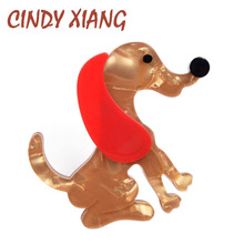 CINDY XIANG Acetate Fiber  Acrylic Cute Dog Brooches for Women Fashion Large Animal Brooch Pin Handmade New Design Jewelry Gift