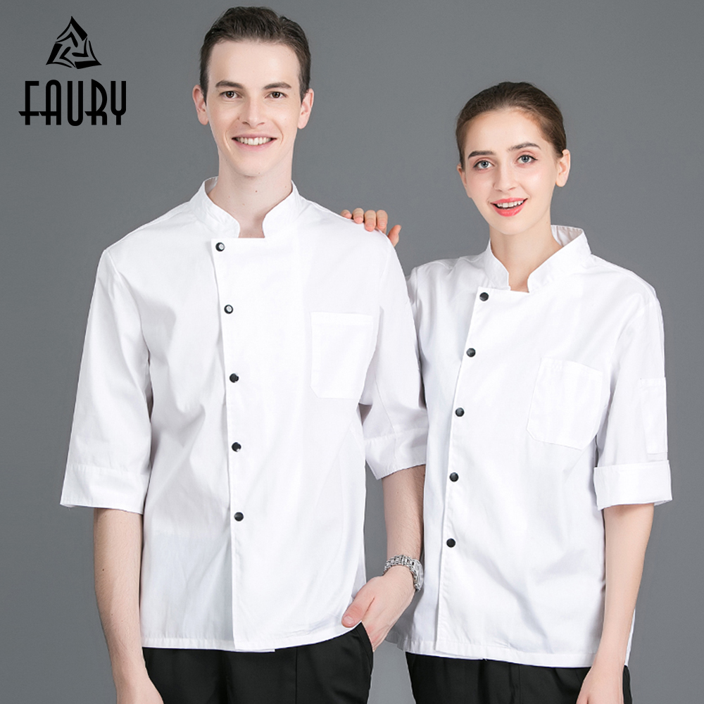 New Arrival Short Sleeves Restaurant Uniform Kitchen Hotel Cook Work Wear Breathable Chef Jacket Pure Color Unisex Sushi Costume