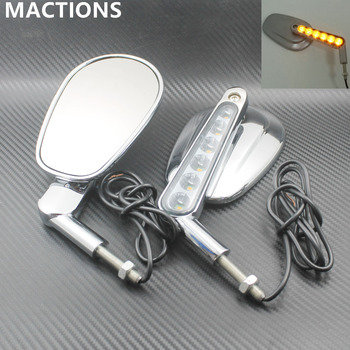 1 Pair Chrome Motorcycle Mirror Muscle LED Turn Signals Light Moto Rear side View mirrors case for Harley V-ROD V ROD VRSCF Мотоцикл