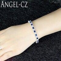 ANGELCZ Square White Cubic Zirconia Connect Dark Blue Stones Silver Color Friendship Bracelets Fashion Style Women