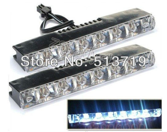 Free shipping 2X Car Truck Super Bright Euro 6 LED Daytime Running Lights Fog Lamps Kit DRL
