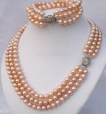 100% Natural Pink Color Freshwater Pearl Necklace Bracelet Jewellery Set,AAA 8-9MM Pearl Jewellery,Perfect Women Birthday Gift100% Natural Pink Color Freshwater Pearl Necklace Bracelet Jewellery Set,AAA 8-9MM Pearl Jewellery,Perfect Women Birthday Gift