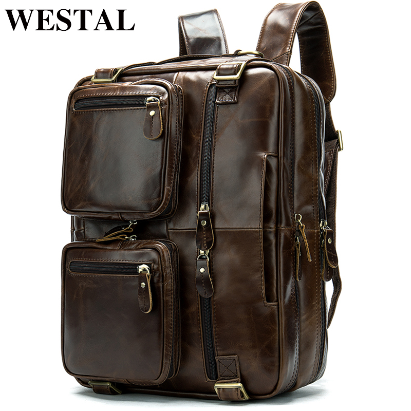 WESTAL male backpack genuine leather men s multifunctional laptop backpack for men s bussiness shoulder daypack