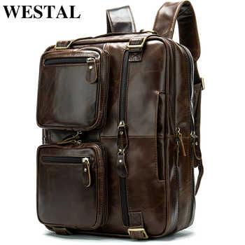 WESTAL male backpack genuine leather men\'s multifunctional laptop backpack for men\'s bussiness shoulder daypack schoolbags 342 - DISCOUNT ITEM  48 OFF Luggage & Bags