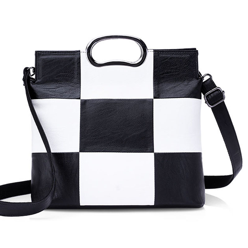 Luxury Handbags Women Bags Designer Plaid Women's Leather Handbags Big Casual Tote Bag Ladies Shoulder Bag white and black цена