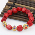 Natural irregular red coral 9-13mm beads diy strand bracelet for women bride gold plated cloisonne spacer jewelry 7.5inch B2721