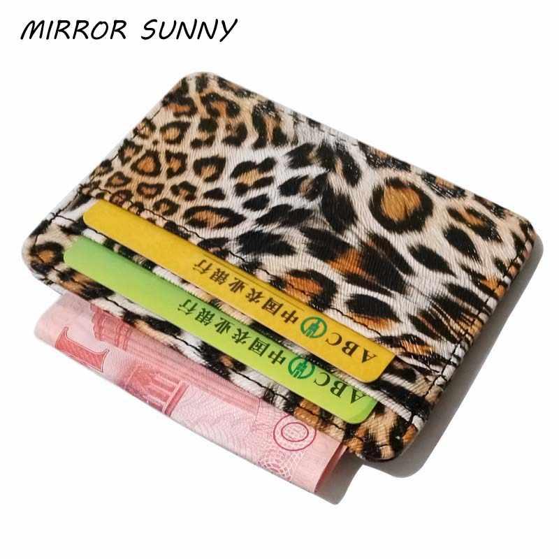 WA023 nueva llegada pequeño Mini leopardo patrón PU cuero Banco soporte de tarjeta de identificación de negocios cartera funda para hombres mujeres con 6 ranuras