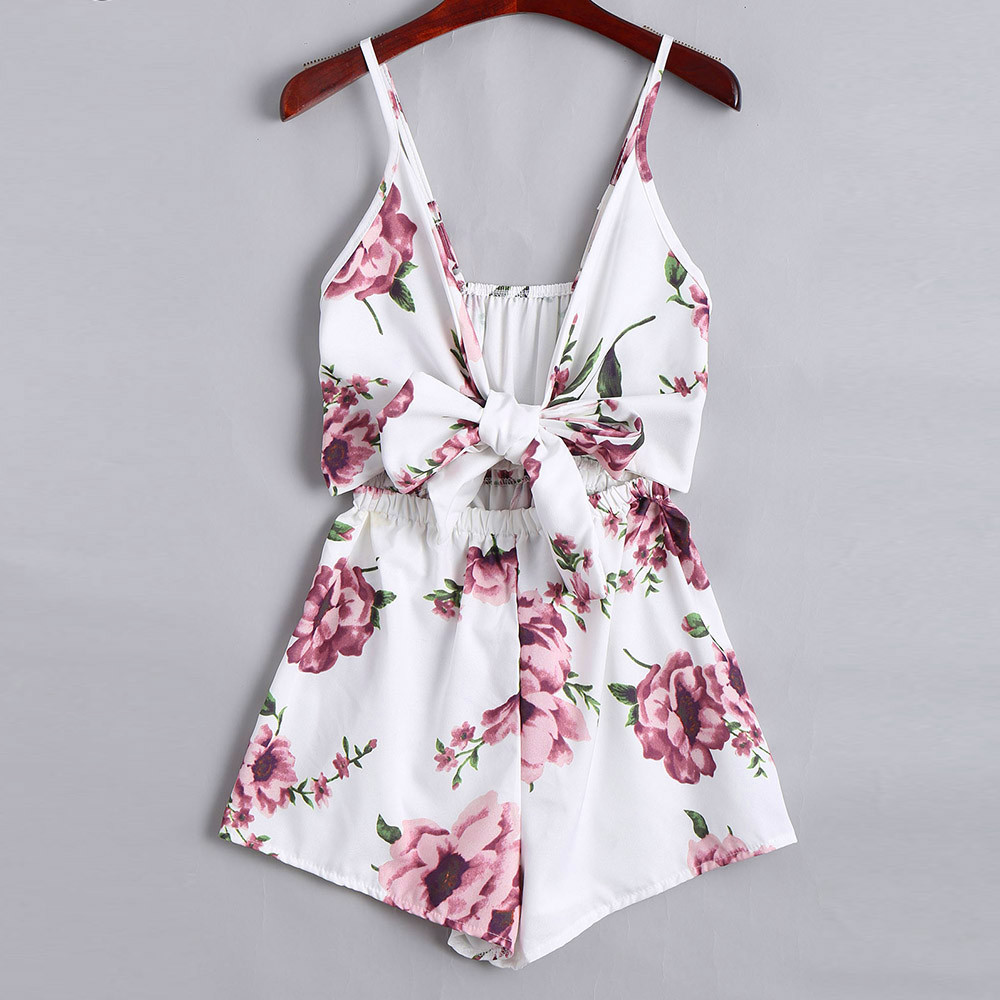 Summer   Jumpsuit   2019 Women Sexy Deep V-Neck Strapless Casual Romper Female Sleeveless Sling Loose   Jumpsuit   Playsuits