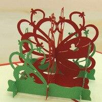 10 פרפרים יח'\חבילה מסיבת חתונה לחתוך לייזר הזמנות Creative 3D פרח סל Pop Up מתקפל כרטיס כרטיסי ברכה יום הולדת