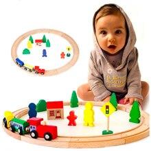 Деревянная круглая железная дорога Совместимость круговая орбита ручной работы Собранный поезд трек аксессуары головоломки игрушки для детей