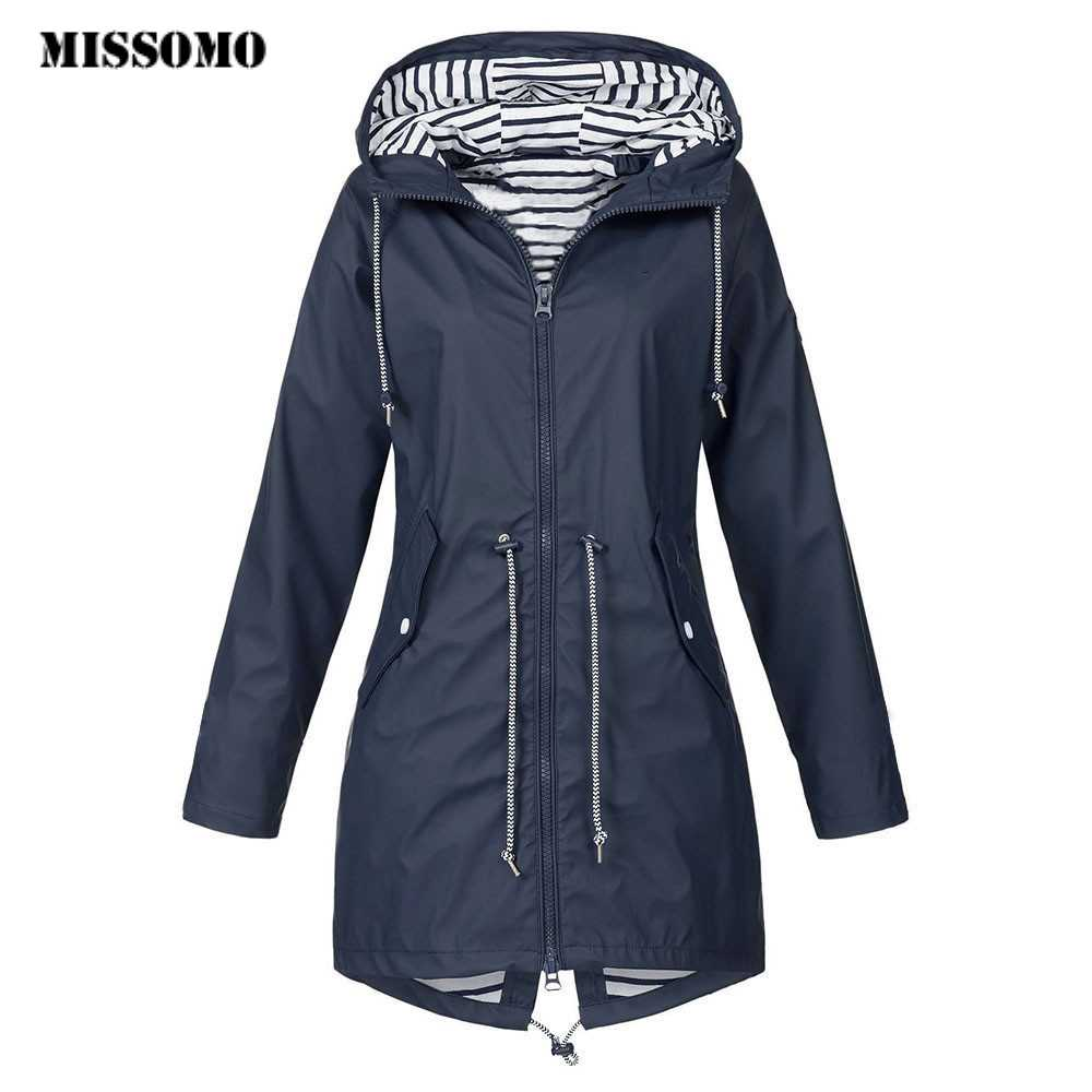 MISSOMO Clothes Women 2019 Solid Rain Jacket Outdoor Jackets Waterproof Hooded Raincoat Windproof ceket spring and winter