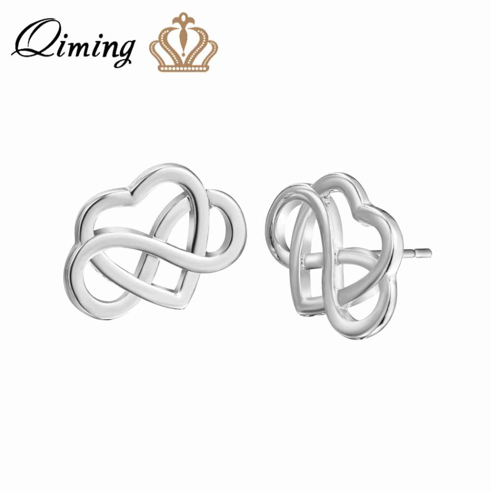 c40ea2e68 QIMING Silver Celtic Heart Stud Earrings Simple Design Valentines Gift  Wholesale Jewelry Gold Knot Charm Vintage