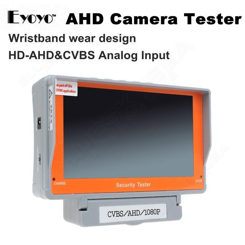 EYOYO 5 Inch HD AHD Camera Tester Wristband CCTV Tester Monitor 1080P/720P AHD Analog Camera Test Audio 12V-Output