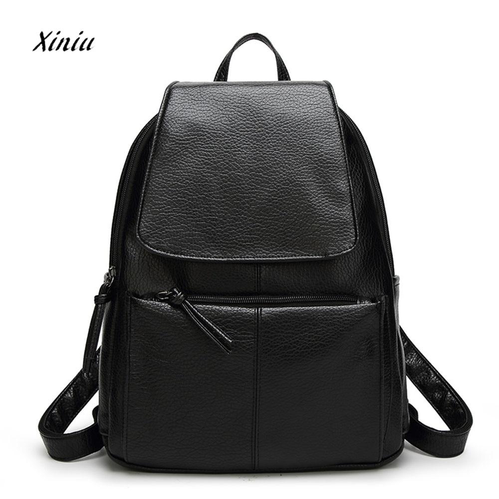Hot Sale PU leather backpack Women Black school travel bag fashion woman backpack casual rucksack bolsos mujer vintage backpacks