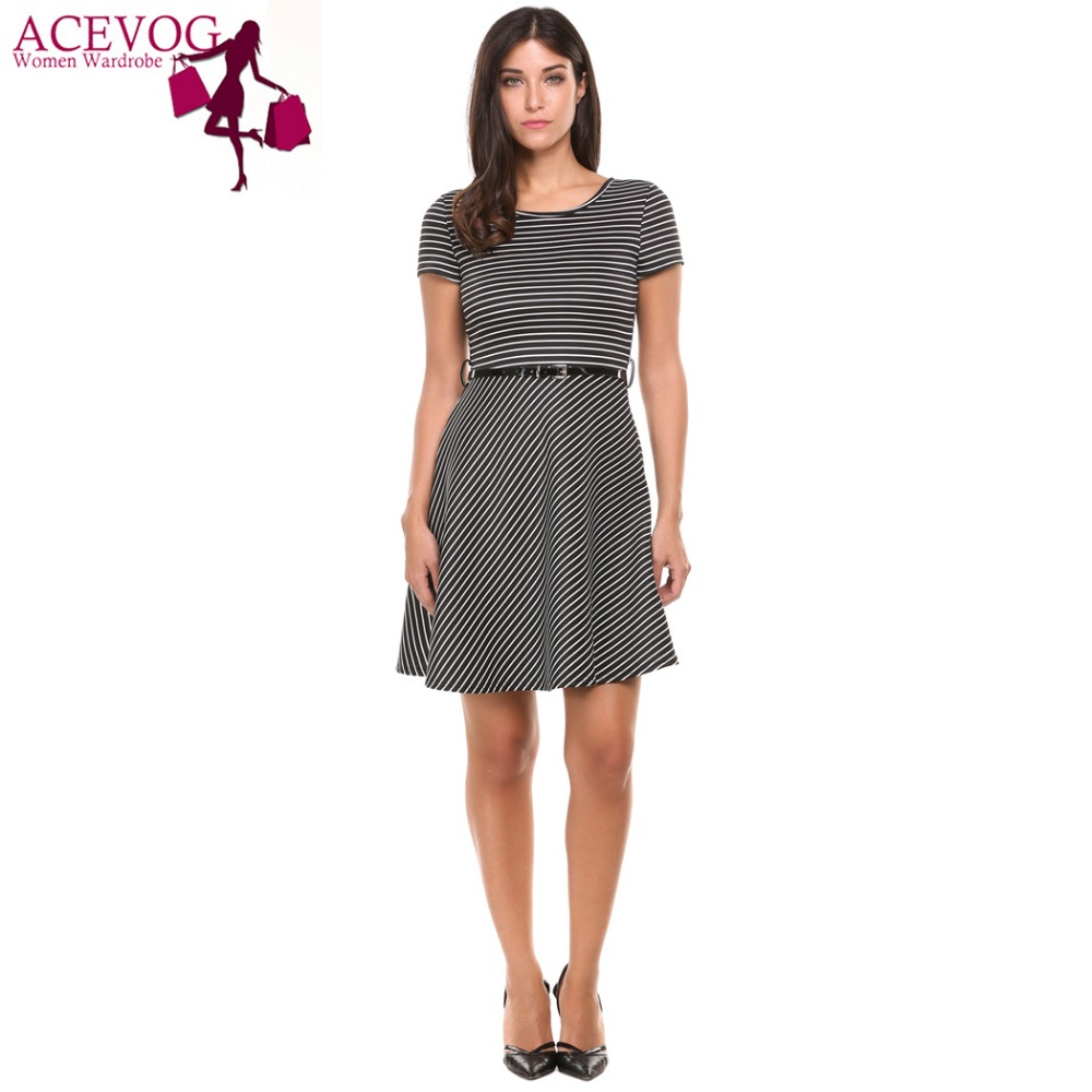 adc781735f ACEVOG 2017 Summer Plated Dress Women Short Sleeve Striped Casual Cocktail  Party Skater Dress With Belt-in Dresses from Women s Clothing on  Aliexpress.com ...