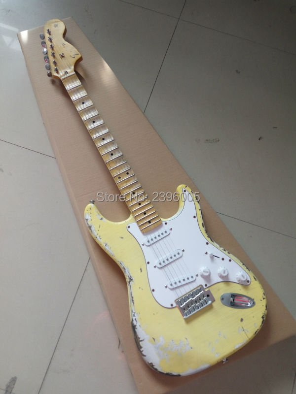 Custom Shop classical st electric guitar,handmade aged st guitar,relic version.maple scalloped fingerboard,big headstock st scalloped fitted