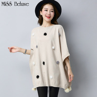 Women 2017 New Fashion Autumn Knitted Shawl Sweater Oversized Cape Poncho Loose Sweaters Pullover Cloak Tops