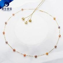 YS collar de perlas de oro puro de 18k para mujer y niña, regalo de aniversario, collar Natural con cadena de perlas, productos de calidad, joyería