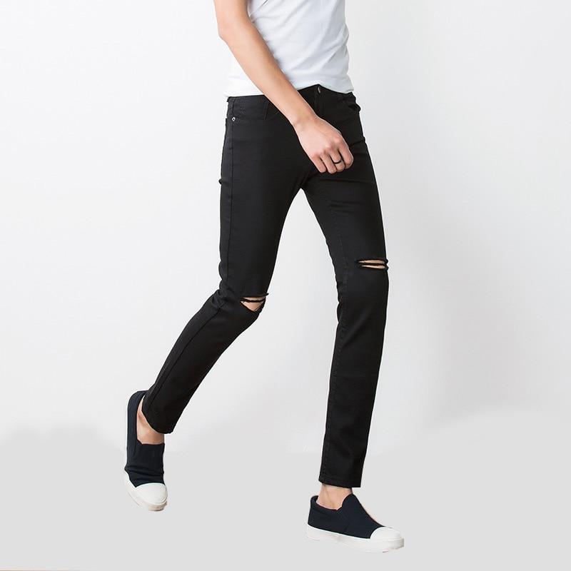 BROKEN HOLE Pant 2017 Skinny New Mænds Bukser Soild Black Slim Man - Herretøj - Foto 1
