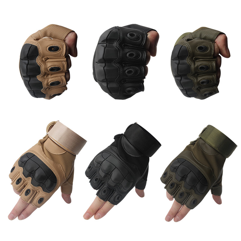 Image 5 - Leather Half Finger Hard Knuckle Summer Motorcycle Gloves Outdoor Sports Motorbike Motocross Moto AVT Biker Riding Tactical-in Gloves from Automobiles & Motorcycles