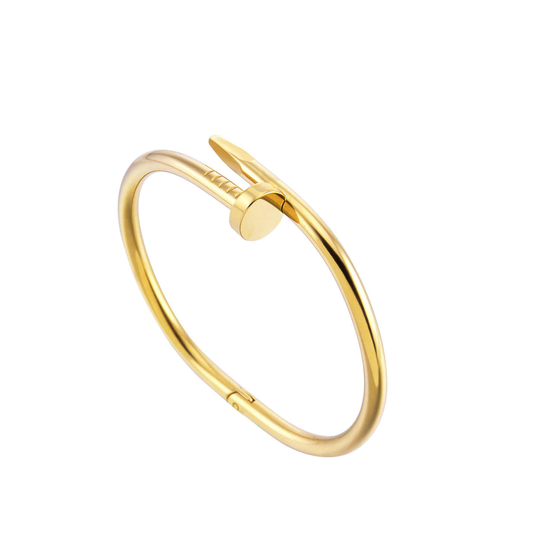 สกรูเล็บกำไลข้อมือทองแดง Love สร้อยข้อมือผู้หญิงเครื่องประดับ Pulsera สกรูสแตนเลสสร้อยข้อมือ Pulseiras Femininas