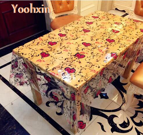 Soft glass rectangular transparent PVC plastic oil cloth Table cloth cover waterproof tablecloth home Christmas wedding decor