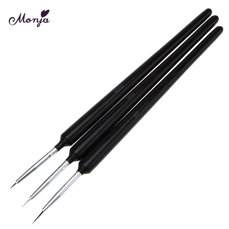 Monja 3pcs/set 5mm 8mm 11mm Nail Art French Liner Lines Stripe Flower Design Drawing Brush Pen Manicure Tool ...