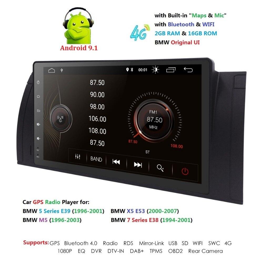 9 pouces 1024x600 HD écran tactile 1 din Android 9.1 voiture multimédia Radio stéréo pour BMW E39 E53 X5 Wifi 4G Bluetooth DVR RDS USB - 5