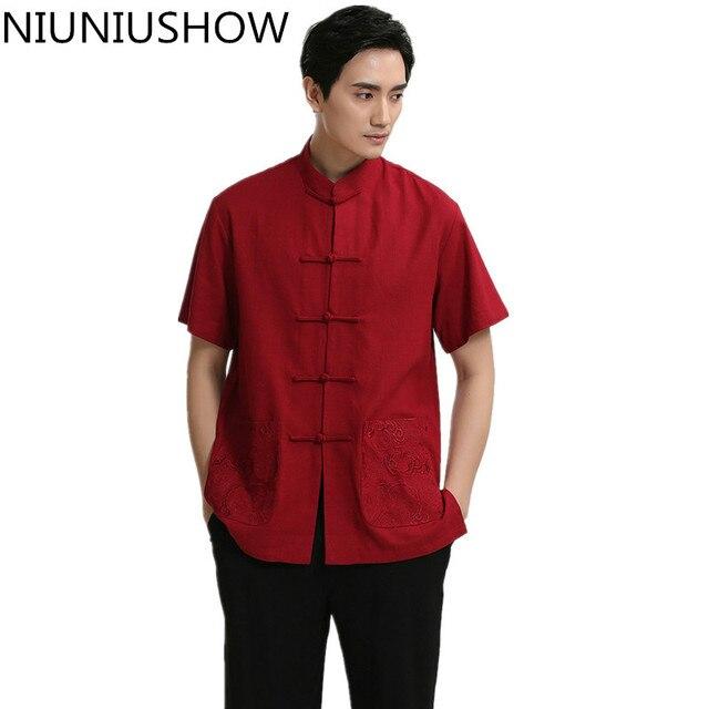 Rojo chino clásico hombres casual manga corta Camisa de