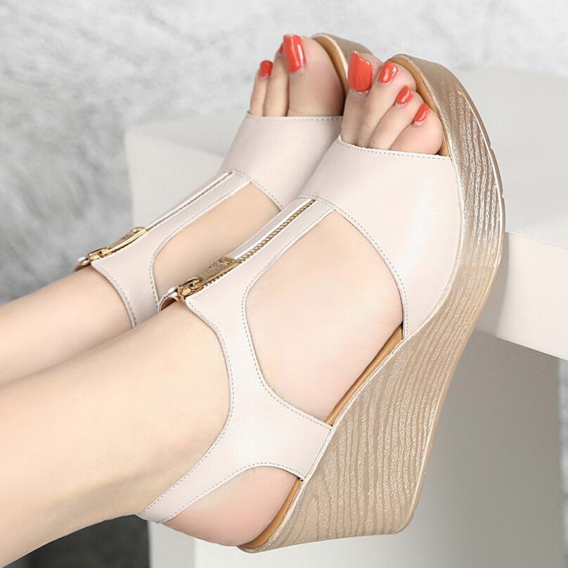 0a21b75a7b7 D Henlu 2019 Wedges Sandals Woman Shoes Flat Platform Sandals Summer Women  Plus Size Shoes Women Sandal With Heels Peep Toe Zip-in High Heels from  Shoes on ...
