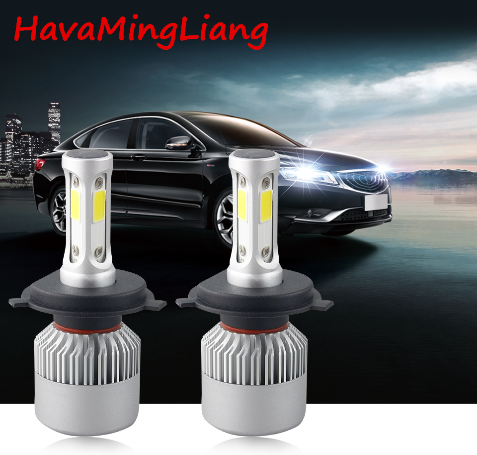 Head light S2 H4 H7 H1 COB LED Headlight Bulbs H11 H13 12V 9005 9006 H3 9004 9007 9012 72W 8000LM Car LED lamp Fog work Light