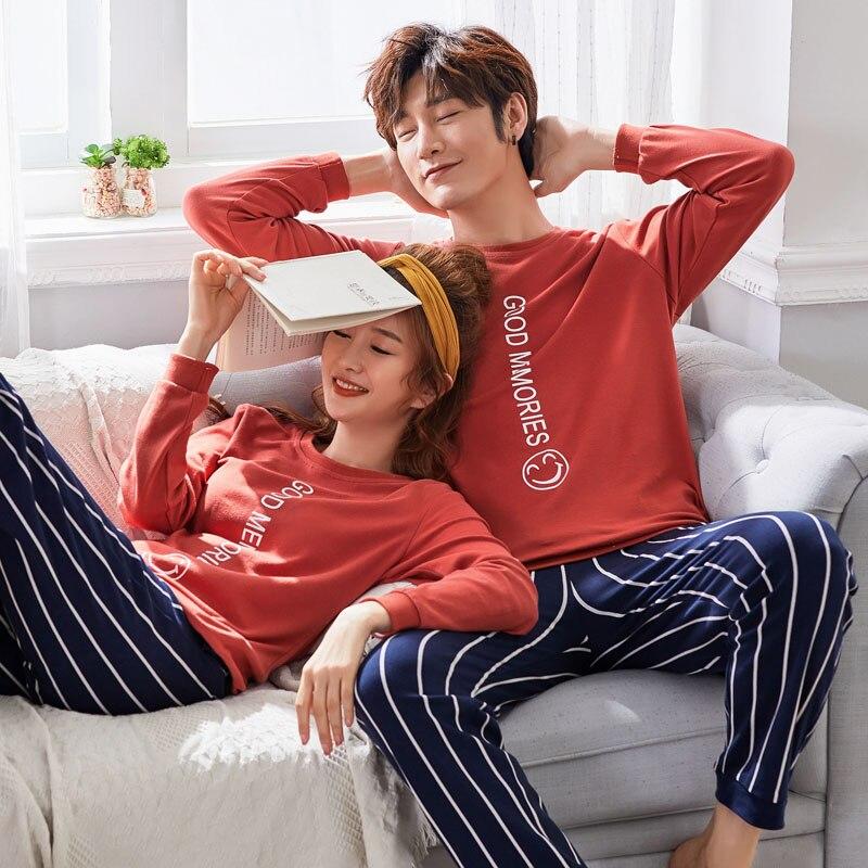 Brand New Knitted Cotton Long Sleeved   Pajamas   Women's   Pajamas     Sets   Fashion Couple Sleepwear Men's Loungewear 3XL Women Fashion
