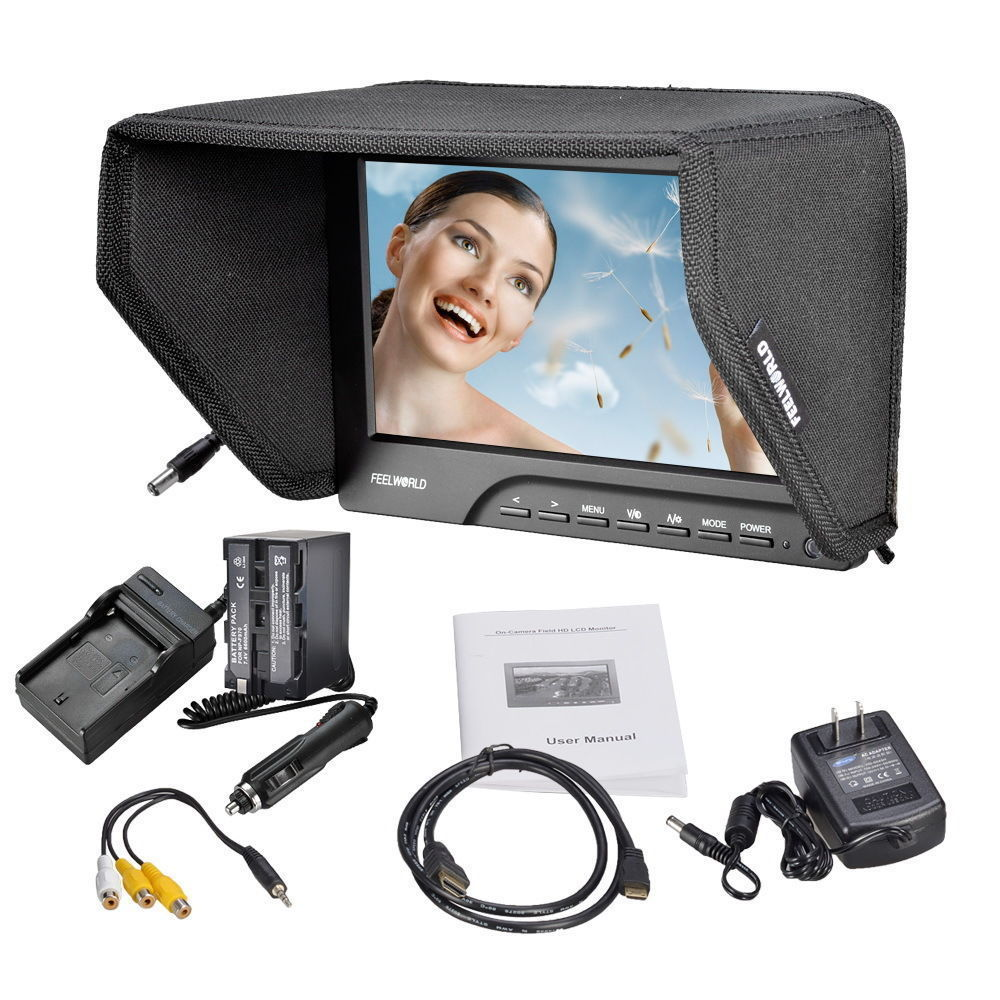 "!FEELWORLD FW689-HD 7 inch"" On Camera Field Monitor 1080P HDMI Video Peaking Filter 5D III+NP-F970 6300mAh Battery Pack"""