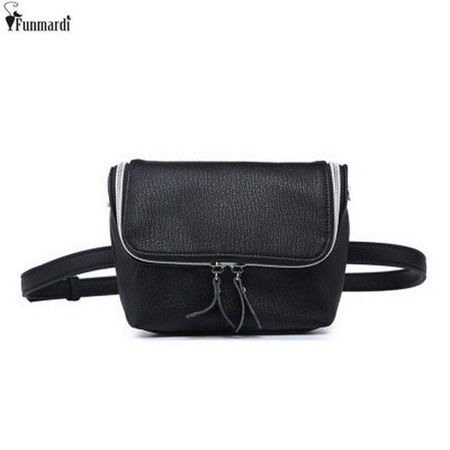 FUNMARDI Classic Trendy Leather Waist Bags New Fashion Women Shoulder Bags Vintage Mini Bags Simple Casual Belt Bags WLAM0167