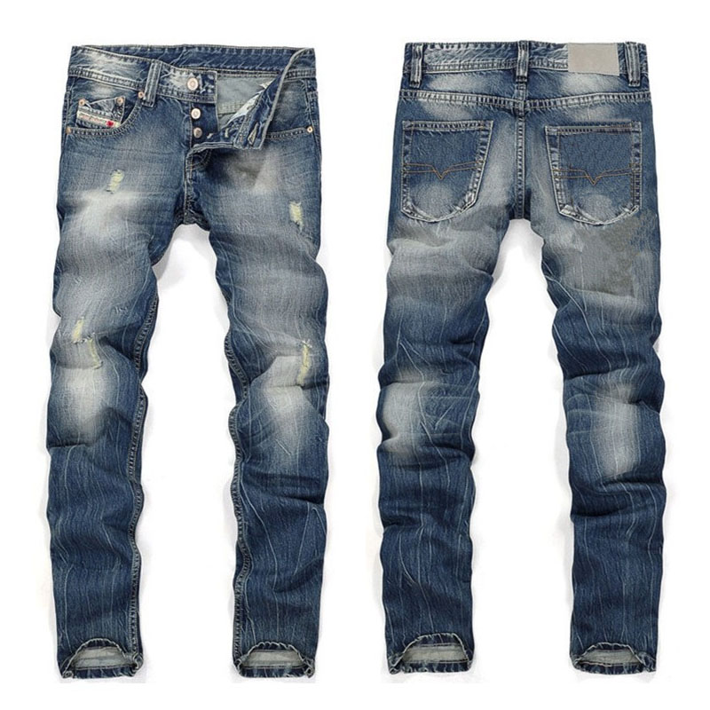 Top Quality Ripped Denim Mens Jeans Button Fly Fashion Broken Hole Straight Jeans Trousers Men Blue