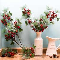 Rama de pino Artificial frutas rojas bayas artificiales para decoración de flor falsa de Navidad decoración de fiesta de hogar arreglo de flores