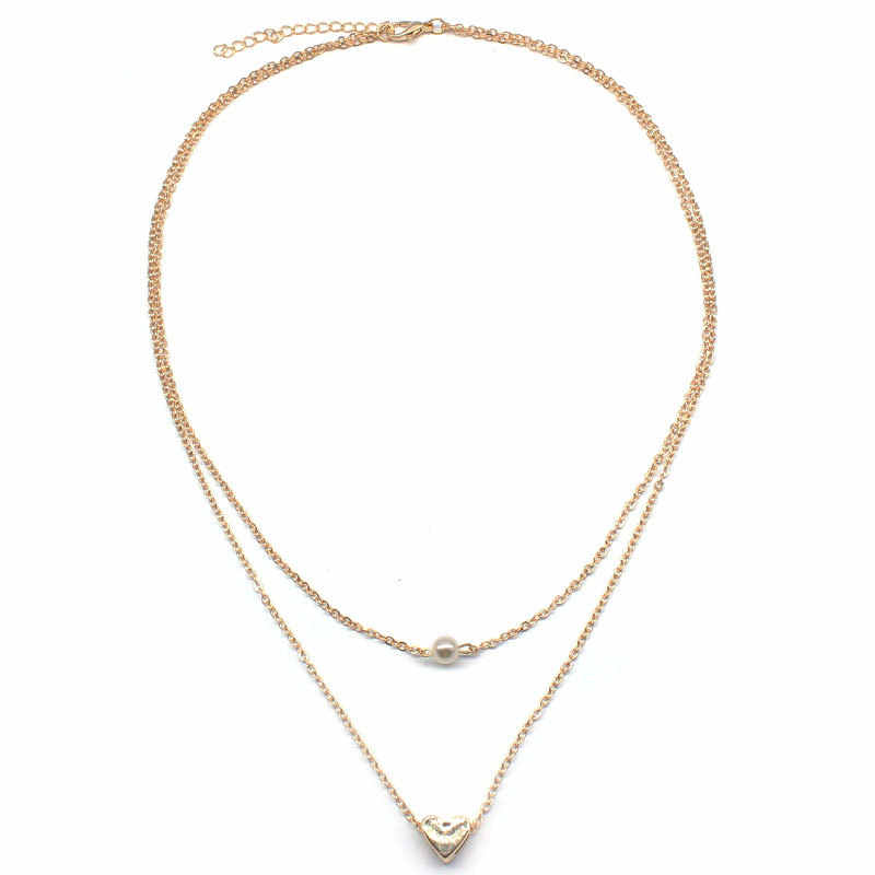 Simple Peach Heart Pearl Pendant Necklace Women Cute Fashion Layered Clavicle Choker Chain Necklace Jewelry