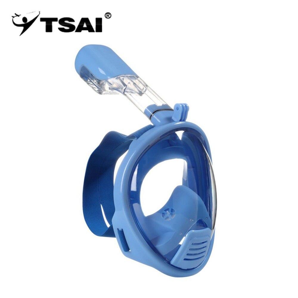 TSAI Anti-buée masque de sécurité visage complet natation plongée sous-marine plongée en apnée masque complet pour enfants