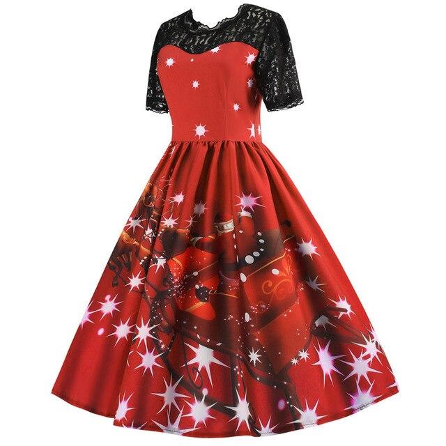 e72739361f4 Robe noel Vintage Christmas Dress 2018 Short Sleeve Lace Patchwork Winter  Snowflake Santa Printed Party Rockabilly Dress Pin up
