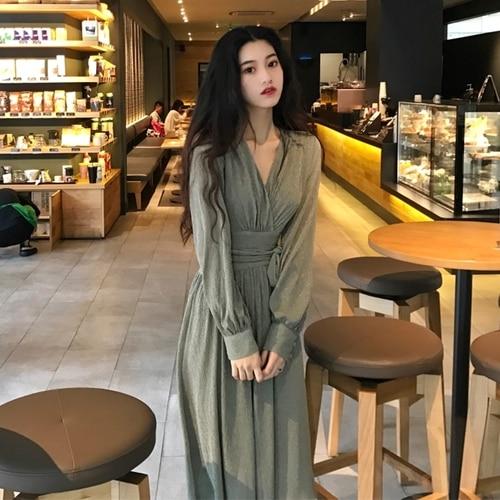 Spring Fashion Women Dress Solid V-neck Slim Waist Vestido Brief A-line Knee-length Pleated Womens Dresses Temperament