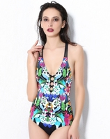 July Sand Lace Up Neckline Criss Cross Back Printed One Piece Swimsuit