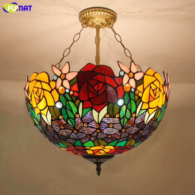 Us 5 33 35 Off Fumat Stained Glass Pendant Lights Rose Flower Tiffany Hanglamp E27 Led Hanging Light Fixture Suspension Luminaire Pendant Lamps In