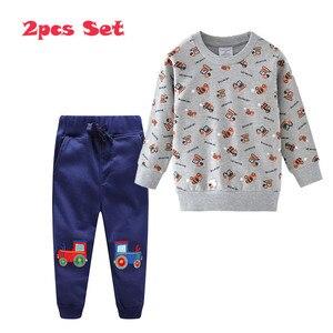 Image 5 - กระโดดเมตร Applique เสื้อผ้าเด็กชุดกางเกงขายาว + เสื้อผ้าฝ้ายรถยนต์ 2 ชิ้นชุดสำหรับฤดูใบไม้ร่วงฤดูหนาวชายชุดสูท