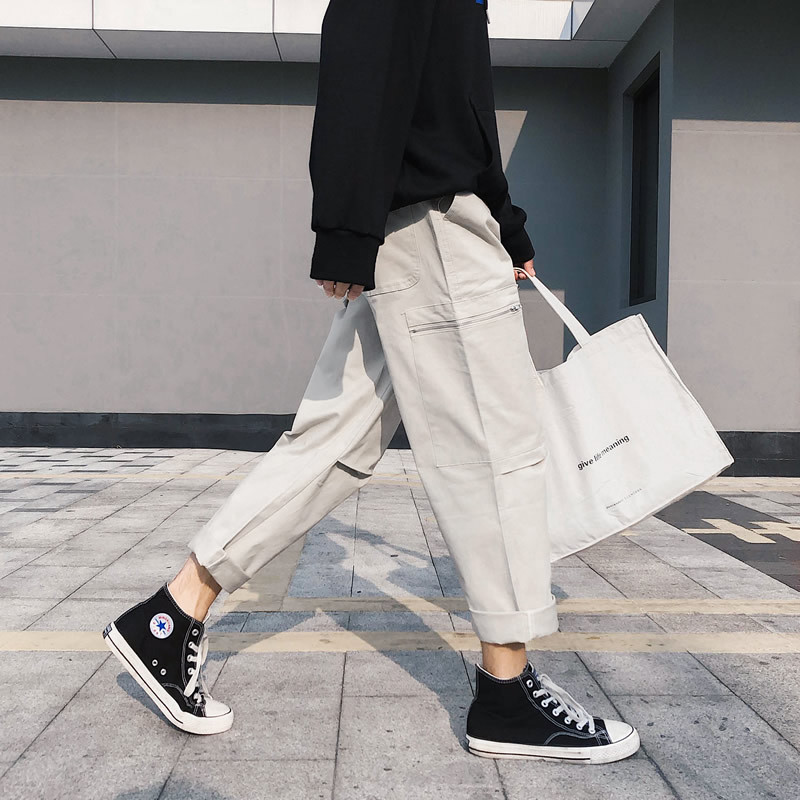 Summer Men Pants Casual Loose Cargo Pants Men 100 Cotton Straight Ankle Length Harem Pants in Cargo Pants from Men 39 s Clothing