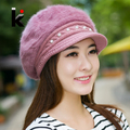 2017 High quality rabbit fur felt girl hat winter berets pearl decorated knit hats for women cap boina feminina