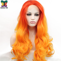 HAIR SW long Wavy Lace Front Synthetic wig Flame Red Mixed Orange Ombre 24
