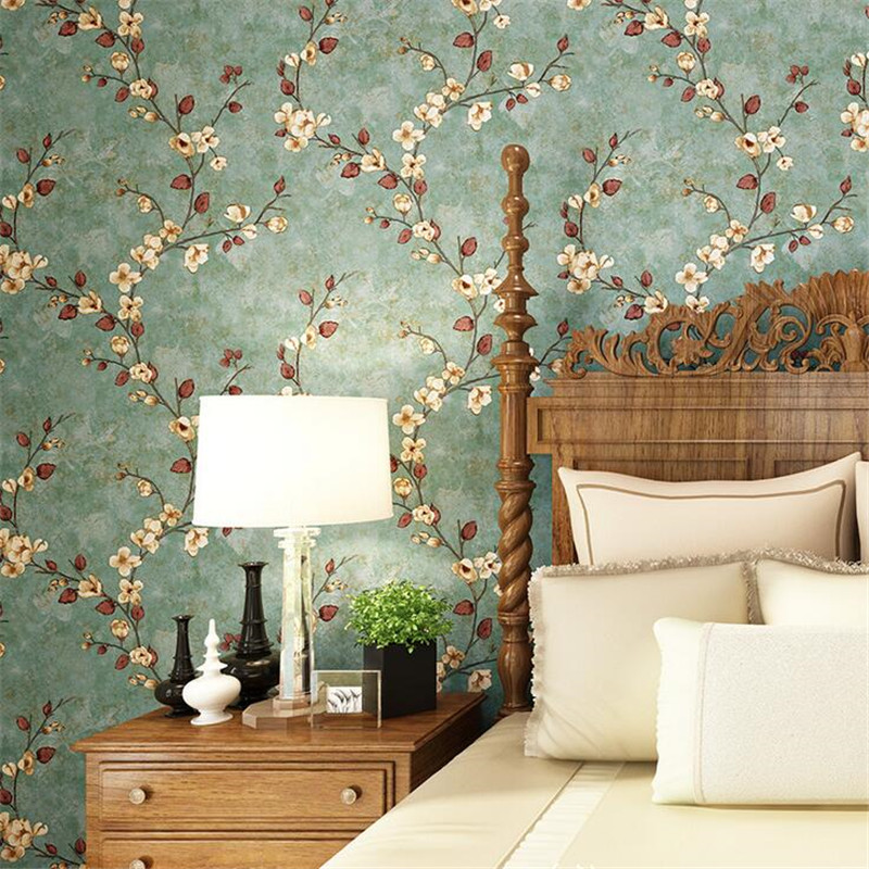 American Style Rustic Wallpaper Roll Vintage Floral Non