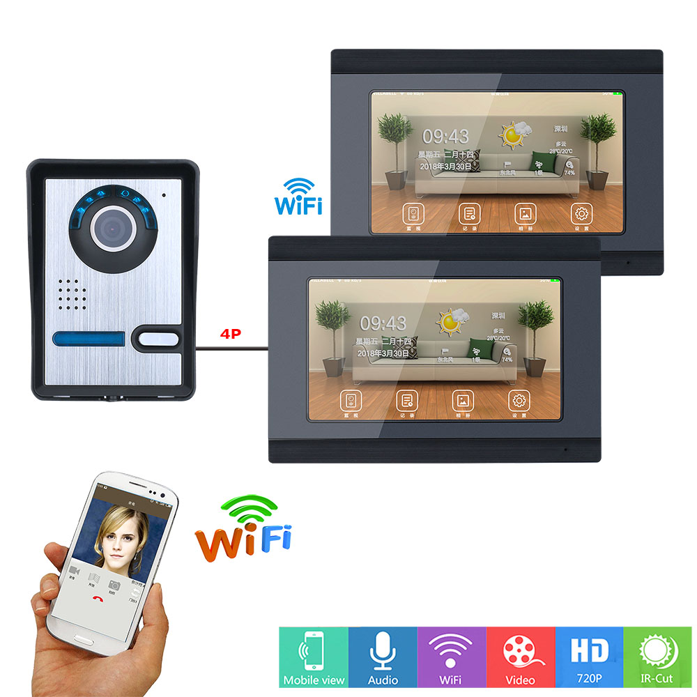 7 Inch 2 Monitors Wired /Wireless Wifi Video Door Phone Doorbell Intercom System With  IR-CUT HD 1000TVL Wired Camera
