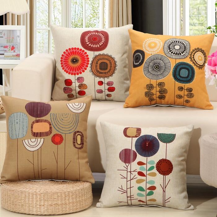 1Pcs Fashion Cotton Linen Flower Pattern Throw Pillow Cushion Cover Seat Car Home Decor Sofa Bed Decorative Pillowcase 40107